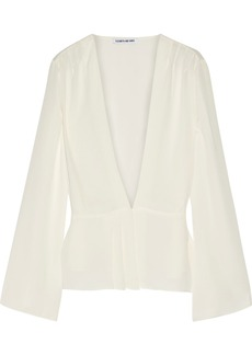 Elizabeth and James Layla pleated georgette wrap blouse