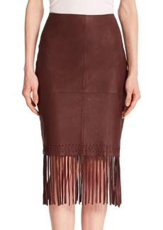 Elizabeth and James Leather Fringe Pencil Skirt
