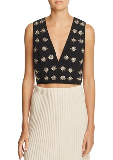 Elizabeth and James Leola Embellished Deep-V Crop Top