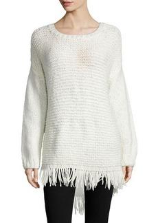 Elizabeth and James Long-Sleeve Pullover W/Fringe Hem