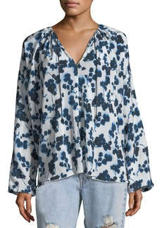 Elizabeth and James Lucia P. Long-Sleeve Floral-Print Silk Top