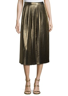 Elizabeth and James Lucy Pleated Lamé Midi Skirt