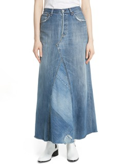 Elizabeth and James Maddy Vintage Paneled Denim Maxi Skirt