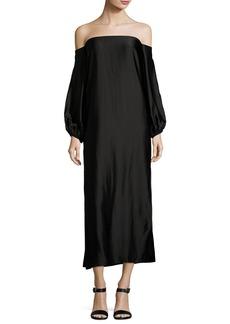 Elizabeth and James Malta Off-the-Shoulder Long-Sleeve Maxi Dress w/ Side Slit