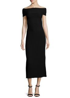 Elizabeth and James Marbella Off-the-Shoulder Ribbed Midi Dress
