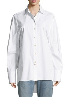Elizabeth and James Marion Button-Front Poplin Shirt with Back-Button Detail