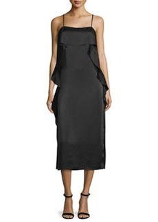 Elizabeth and James Marlee Ruffle-Trim Satin Midi Dress