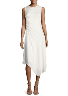 Elizabeth and James Martha Sleeveless Side Ruching Midi Dress