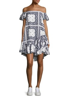 Cinq a Sept Minella Off-The-Shoulder Scarf-Print Dress
