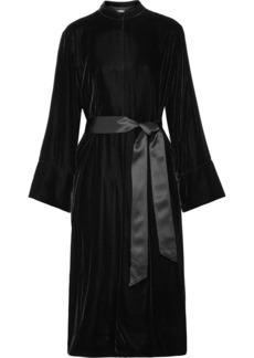 Mitzi oversized belted silk satin-trimmed velvet jacket