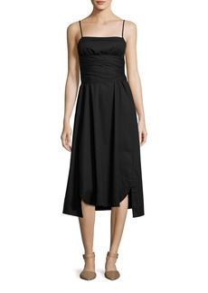 Elizabeth and James Oak Waist-Tie Poplin Midi Dress