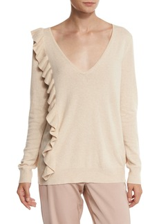 Elizabeth and James Odell V-Neck Ruffle-Trim Sweater