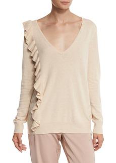 Elizabeth and James Odell V-Neck Ruffle-Trim Sweater