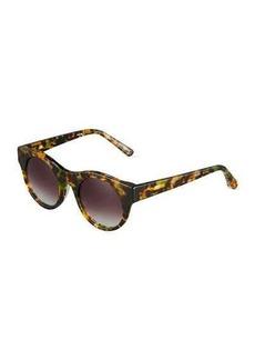 Elizabeth and James Olive Round Havana Plastic Sunglasses