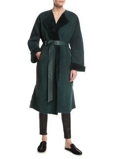 Elizabeth and James Sabra Belted Shearling Robe Coat