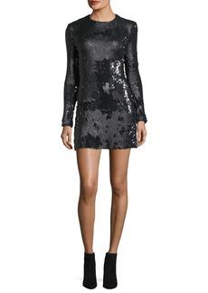Elizabeth and James Siggy Jewel-Neck Long-Sleeve Sequined Mini Dress