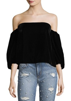 Elizabeth and James Simmy Off-the-Shoulder Velvet Top