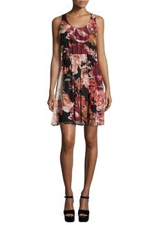 Elizabeth and James Sleeveless Floral Silk Mini Dress