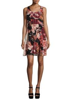 Elizabeth and James Sleeveless Floral Silk Mini Dress