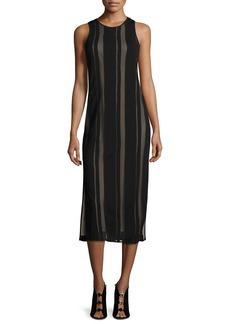 Elizabeth and James Talla Sleeveless Striped Mesh Cutout-Back Midi Dress