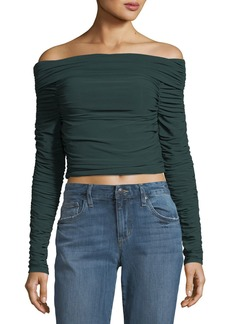 Elizabeth and James Terence Off-the-Shoulder Long-Sleeve Ruched Jersey Top