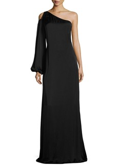 Elizabeth and James Tiana Asymmetric-Neck One-Sleeve Evening Gown