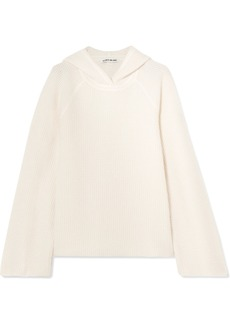 Elizabeth and James Tristan hooded waffle-knit cashmere sweater