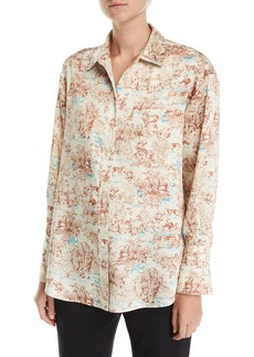 Elizabeth and James Turner Toile Silk Button-Down Shirt with Pocket