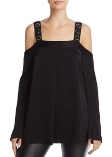 Elizabeth and James Vera Bead-Embellished Cold-Shoulder Top