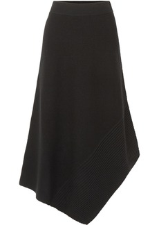 Elizabeth and James Viona asymmetric ribbed merino wool-blend midi skirt