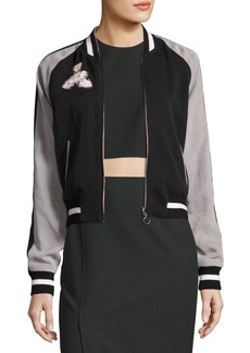 Elizabeth and James Willa Embroidered Colorblock Bomber Jacket