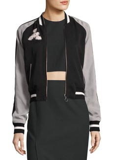 Elizabeth and James Willa Reversible Embroidered Colorblock Bomber Jacket
