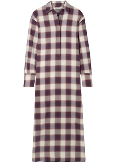 Elizabeth And James Woman Badgley Checked Cotton Maxi Shirt Dress Violet