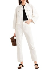 Elizabeth And James Woman Branson Cropped Denim Jacket White