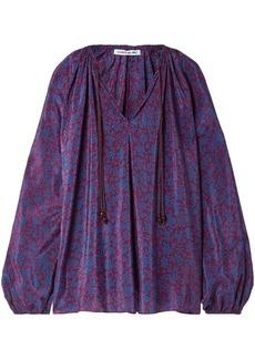 Elizabeth And James Woman Chance Printed Silk Crepe De Chine Blouse Purple