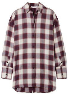 Elizabeth And James Woman Clive Oversized Checked Cotton Shirt Violet