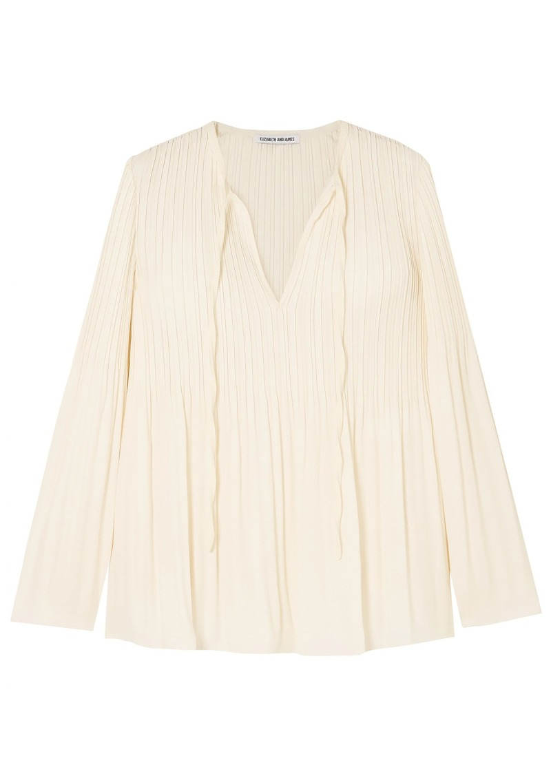 Elizabeth And James Woman Crochet-trimmed Crepe Top Ivory