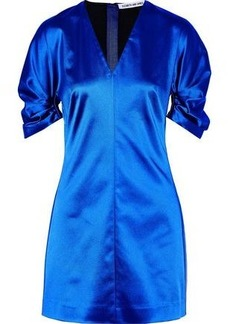 Elizabeth And James Woman Gathered Duchesse-satin Mini Dress Bright Blue