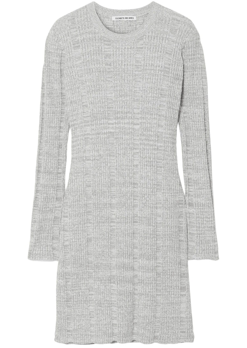 Elizabeth And James Woman Kellen Ribbed Cotton-blend Tunic Light Gray