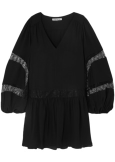 Elizabeth And James Woman Leslie Lace-trimmed Crepe Mini Dress Black