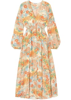 Elizabeth And James Woman Norma Printed Silk Crepe De Chine Maxi Dress Marigold