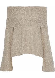 Elizabeth And James Woman Sophie Off-the-shoulder Bouclé Linen-blend Sweater Neutral