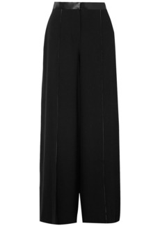 Elizabeth And James Woman Yuli Satin-trimmed Crepe Wide-leg Pants Black