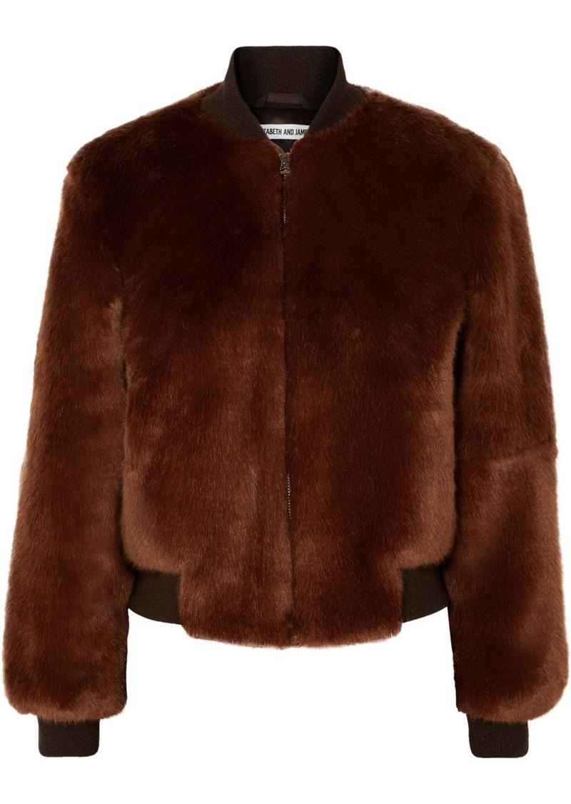 Elizabeth and James Ellington Knit-trimmed Faux Fur Bomber Jacket