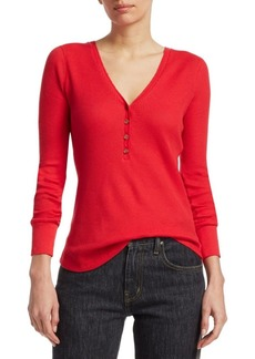 Elizabeth and James Ester Waffle-Knit Raglan Top