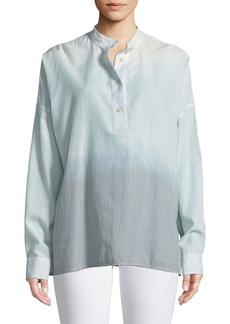 Elizabeth and James Flint Mandarin-Collar Long-Sleeve Ombre-Striped Shirt