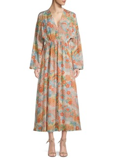 Elizabeth and James Floral V-Neck Silk Maxi Dress