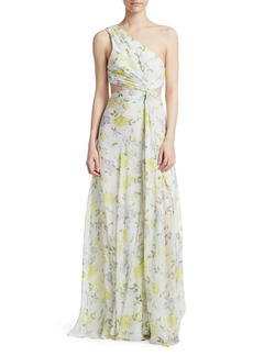 Cinq a Sept Goldie One-Shoulder Floral Silk Gown