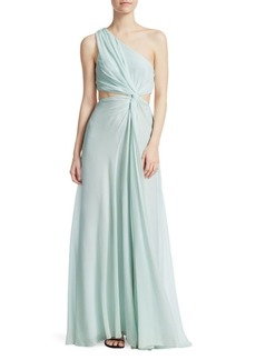Elizabeth and James Goldie Silk One-Shoulder Gown