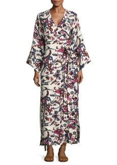 Elizabeth and James Howe Floral Silk Kimono Dress